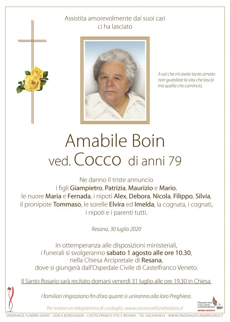 Amabile Boin ved. Cocco